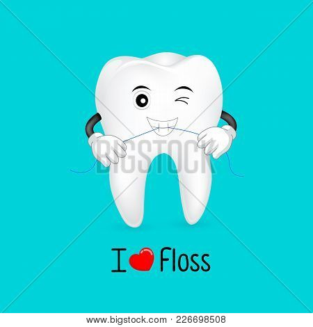 Cute Cartoon Tooth Character Using Dental Floss.  I Love Floss, Great For Dental Care Concept. Illus