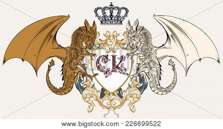 Illustration With Heraldic Coat Of Arms, Crest And Dragons Ideal For Logotype Design