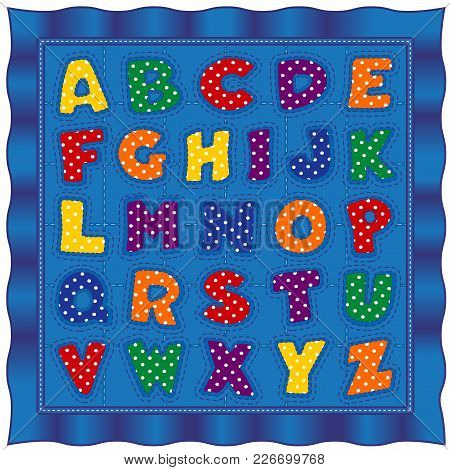 Alphabet Baby Quilt, Old Fashioned Traditional Design Pattern With Bright Letters In Gingham And Pol