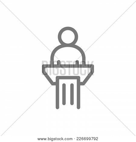 Simple Man In Pulpit Line Icon. Public Speaking Symbol And Sign Vector Illustration Design. Isolated