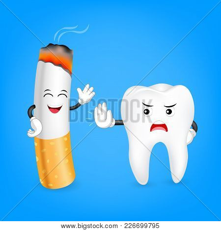 Cute Cartoon Tooth And Cigarette Character. No Smoking, Dental Care Concept. Illustration On Blue Ba