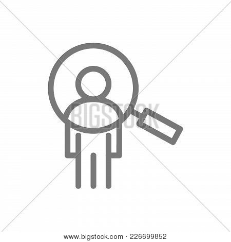 Simple Man With Magnifier, Search Employees, Seo Line Icon. Symbol And Sign Vector Illustration Desi