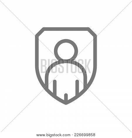 Simple Man In Shield, Defender, Business Security Line Icon. Symbol And Sign Vector Illustration Des