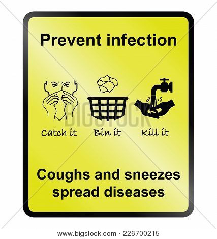 Yellow Prevent Infection Public Health Information Sign Isolated On White Background