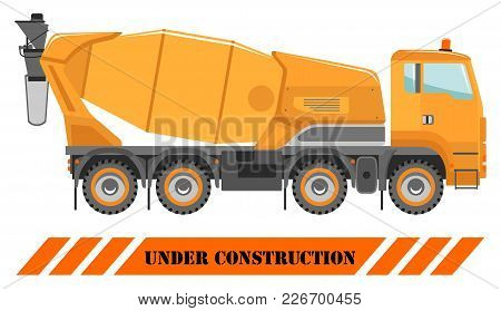 Detailed Illustration Of Concrete Mixer, Heavy Equipment And Machinery. Heavy Construction Machines.
