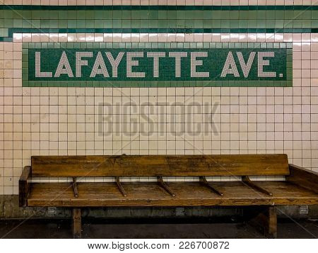 New York City - February 1, 2018: Sign For The Lafayette Avenue Subway Station In The New York City