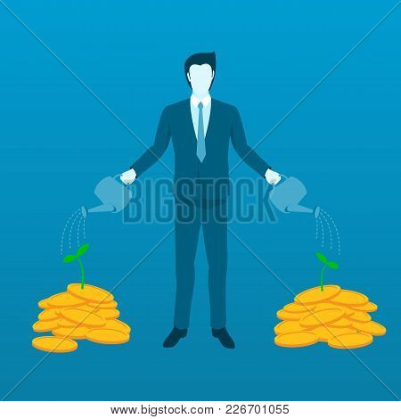 Businessman Watering Money Tree To Grow Finance Investment. Flat Vector Concept Of Growing And Incre