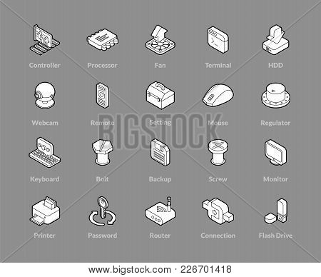 Isometric Outline Icons, 3d Pictograms Vector Set - Computer Symbol Collection
