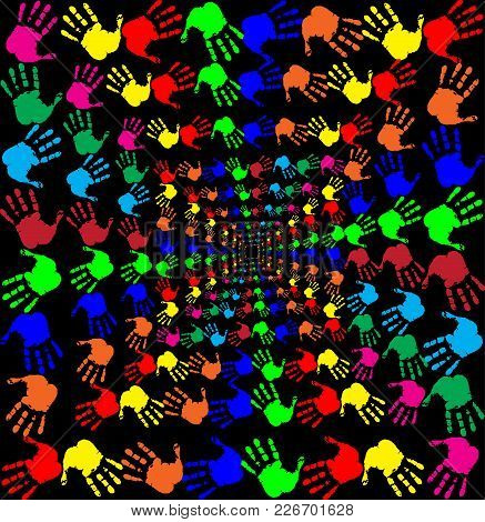 Bright Rainbow Vector Illustration With Multicolored Handprints Pattern On Black Background. Hand Pr