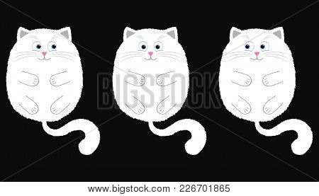 Vector White Cat In Cartoon Style. Funny Illustration Of White Kitten With Blue Eyes, Lying On The B
