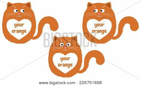 Vector Orange Cat In Cartoon Style. Funny Illustration Of Sitting Orange Kitten With White Heart-spo