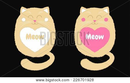 Vector Beige Cat In Cartoon Style. Funny Illustration Of Sitting Beige Kitten With Closed Eyes, With