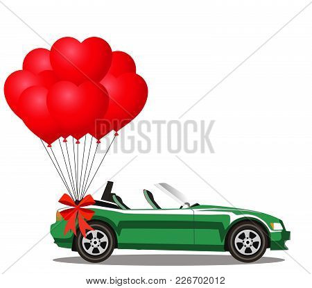 Green Modern Opened Cartoon Cabriolet Car With Bunch Of Red Helium Heart Shaped Balloons With Festiv