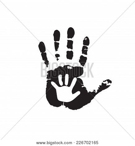 Black And White Silhouette Of Adult Baby Hands On Mother Or Father Child Handprint Palm Man Social Illustration Idea The