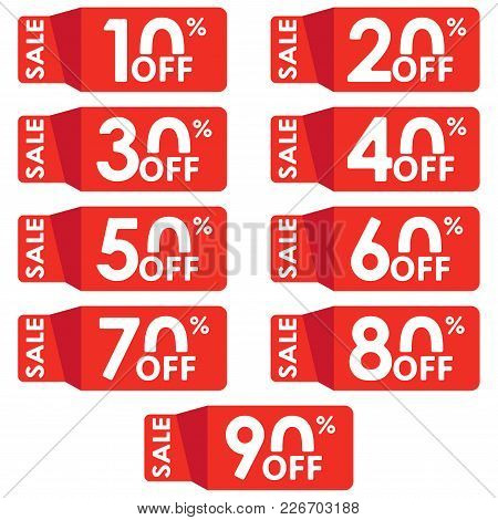 Sale And Discount Tag Set. Price Off Tag Design Template. 10,20,30,40,50,60,70,80,90 Percent Sale. V