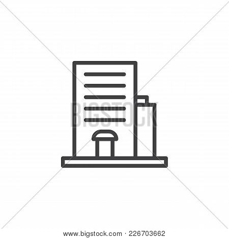 Hotel Building Outline Icon. Linear Style Sign For Mobile Concept And Web Design. Simple Line Vector