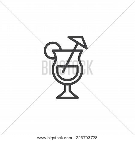 Cocktail Glass With Lime And Straw Outline Icon. Linear Style Sign For Mobile Concept And Web Design