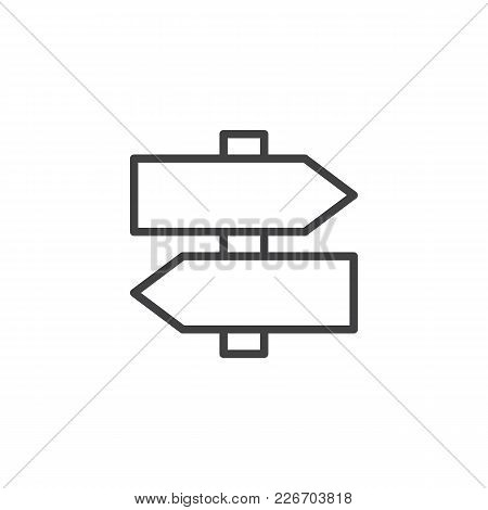 Signboard Outline Icon. Linear Style Sign For Mobile Concept And Web Design. Arrow Signpost Simple L