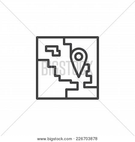 Map With Pin Outline Icon. Linear Style Sign For Mobile Concept And Web Design. Travel Location Simp