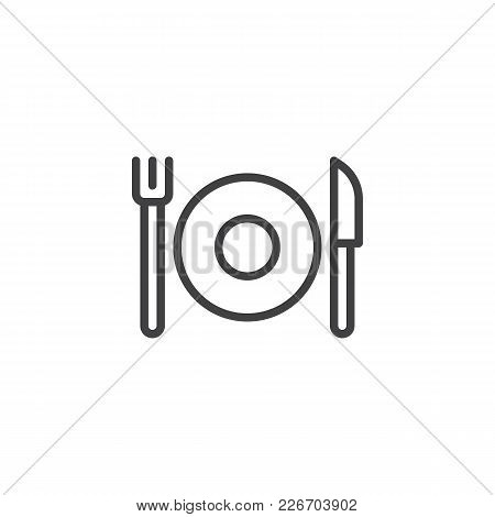 Plate With Cutlery Outline Icon. Linear Style Sign For Mobile Concept And Web Design. Fork And Knife