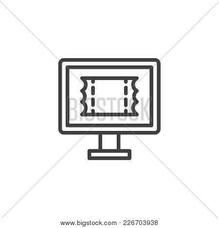 Online Booking Outline Icon. Linear Style Sign For Mobile Concept And Web Design. Ticket On Computer