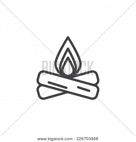 Campfire Outline Icon. Linear Style Sign For Mobile Concept And Web Design. Bonfire Simple Line Vect