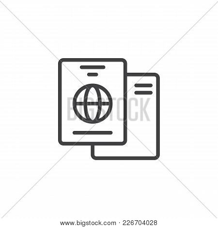 International Passport Outline Icon. Linear Style Sign For Mobile Concept And Web Design. Travel Doc