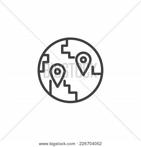 Globe With Destination Location Pin Outline Icon. Linear Style Sign For Mobile Concept And Web Desig