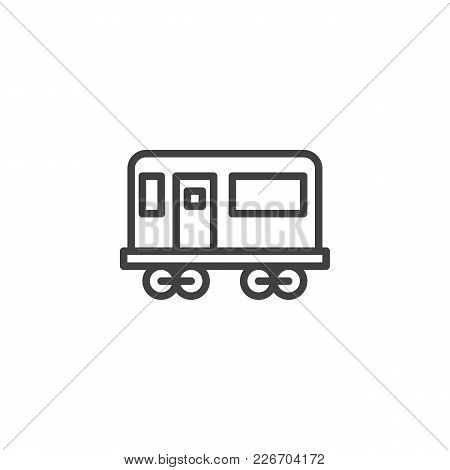 Railway Carriage Outline Icon. Linear Style Sign For Mobile Concept And Web Design. Train Travel Sim