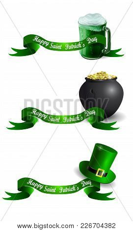 St.patrick S Day Banner Set With Beer Mug Pot With Gold And Leprechaun Hat Vector