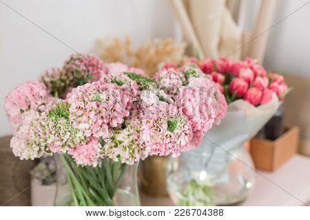 Persian Buttercup. Lace With Many Petals. Bunch Pale Pink Ranunculus Flowers Light Background. Glass