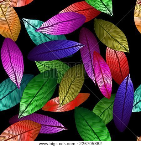Vector Colored Leaves With Degrade Effect On Dark Background. Foliage
