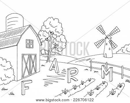 Farm Field Graphic Black White Landscape Sketch Illustration Vector
