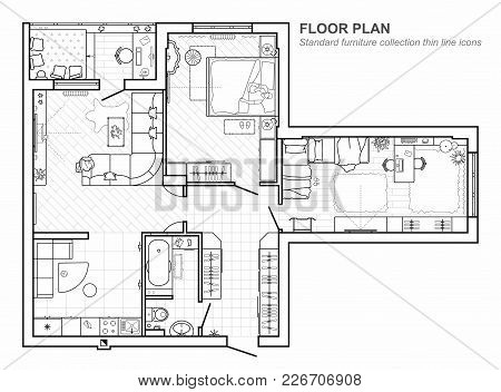 Floor Plan With Furniture In Top View. Architectural Set Of Furniture Thin Line Icons. Detailed Layo