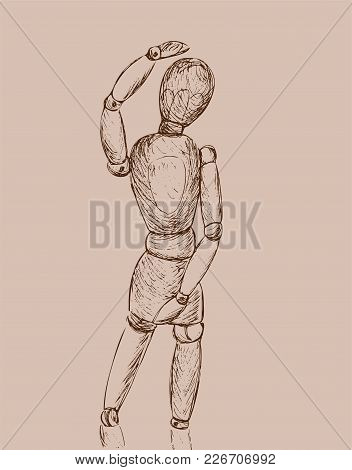 Hand Drawn Sketch Of Wooden Doll Gestalta Isolated On Black Background. White Line Vector Illustrati