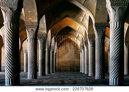 Iran, Shiraz, Vakil Mosque - September 17, 2016: Columns Of The Vakil Mosque In Shiraz. Iran.