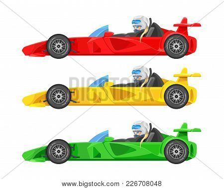 Set Of Colorful Fast Motor Racing Cars, Formula 1 (one), Bolides Sport Racing Car Flat Vector Icons