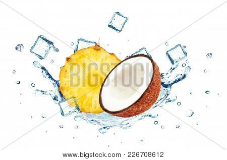 Pineapple And Coconut Splash Water And Ice Cubes Isolated