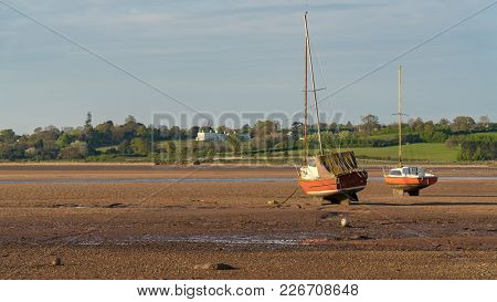 Ship In Low Tide, Exmouth Harbour, Devon, England, Uk