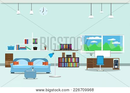 Living Room Or Office Design Interior Relax With Sofa Blue And Bookshelf Window In Wall  Background.