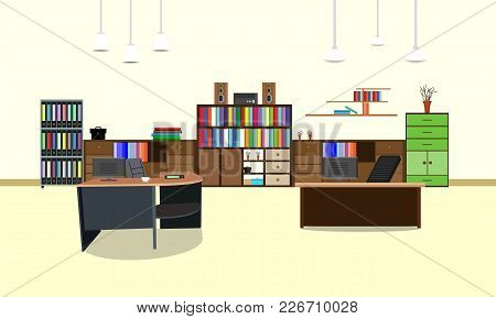 Room Office Workplace Design Interior With Cabinet, Table, Chair, Book, Bookcase And Wall. Vector Il