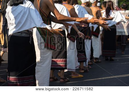 Vietnamese Ethnic Minority People Closeup Wears Traditional Costumes Performing A Traditional Dance