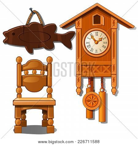 Clocks, Chair And Fish From Wood. Vector.