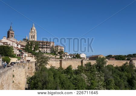 Segovia - May 16, 2015: Views Of The City Of Segovia, With The Cathedral And The Church Of Saint And