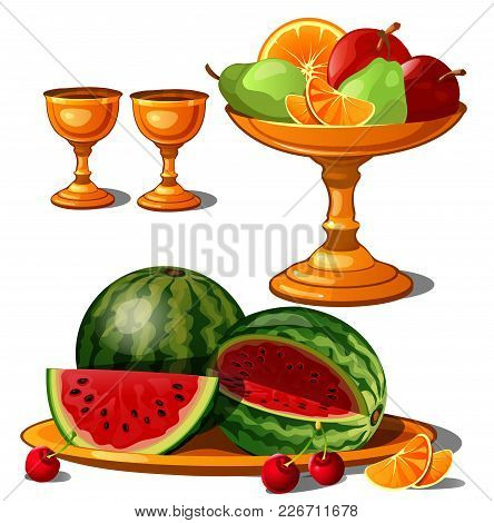 Golden Plates With Fruit. Vector Illustration Object.