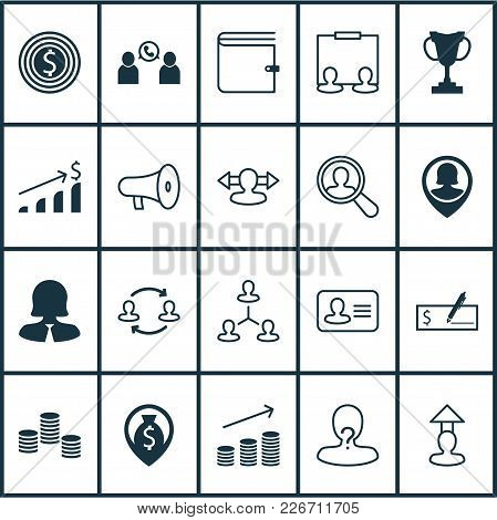 Human Icons Set With Call, Dollar Bank Check, Prize And Other Coin Elements. Isolated Vector Illustr