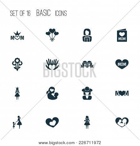 Mothers Day Icon Design Concept. Set Of 16 Such Elements As Post Card, Baby And Nanny. Beautiful Sym