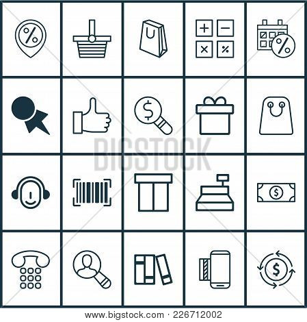 Commerce Icons Set With Sales Day, Like, Shopping Basket And Other Tote Bag Elements. Isolated Vecto