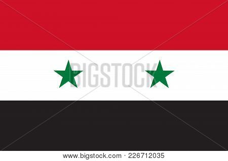 Flag In Colors Of Syria, Vector Image