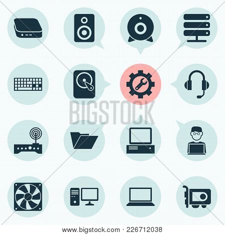 Gadget Icons Set With Web Camera, Wifi Modem, Man With Laptop And Other Earphone Elements. Isolated